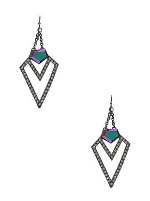 The name says it all—radiant aurora borealis-colored stones and an edge-driven hematite tone make these earrings the ultimate statement accessory.