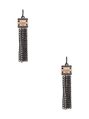 Bring iconic edge to your everyday looks with these eye-catching earrings. The modern two-tone design mixes with dangling fringe to deliver this must-wear pair.