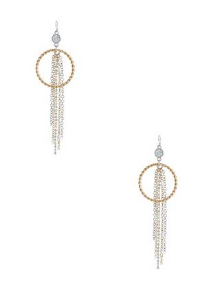 Melina Two-Tone Fringe Hoop Earrings