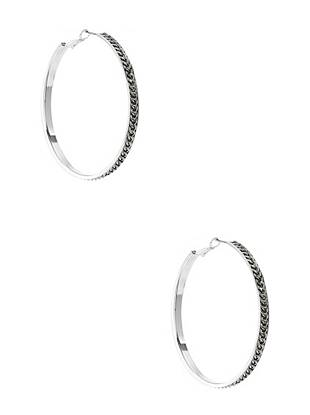 Kim Silver-Tone Chain Hoop Earrings
