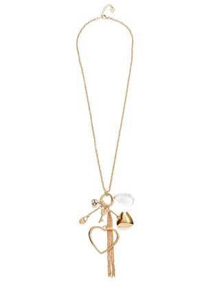 Long Gold-Tone Heart Charm Necklace