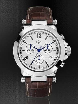 This bold chronograph has a clean, classic feel; perfect for work or play. Polished stainless steel case features textured silver dial with precision Swiss chronograph and date feature.  Brown croco-embossed genuine leather strap adds sophistication.   Solid stainless steel case.  40mm.  Deployment buckle strap closure.  Screw-down crown.  Water resistant to 100 meters.  10-year limited warranty.  SWISS MADE.