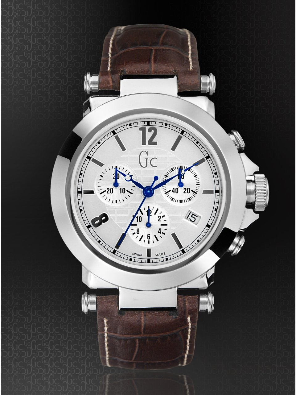 GUESS Gc B1-Class Silver on Leather Timepiece