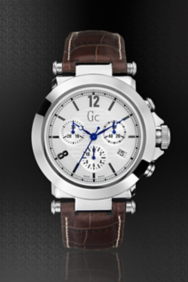 Gc B1-Class Silver on Leather Timepiece
