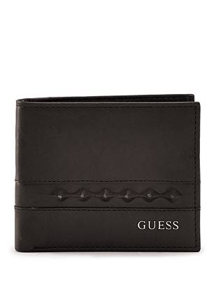 Unique layered studs lend stylish edge to this classically versatile billfold.