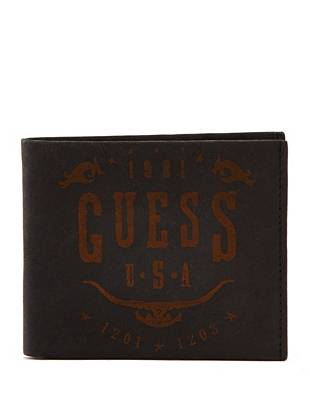 Distressed matte leather and a stamped western-inspired graphic make this wallet ideal for the guy with a rugged sense of style.