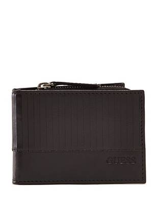 A unique zippered pouch adds most-wanted versatility to this laser-cut detailed wallet.
