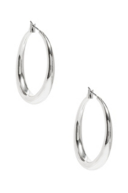 Silver-Tone Tubular Hoop Earrings