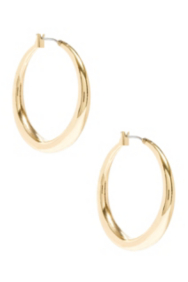 Gold-Tone Tubular Hoop Earrings