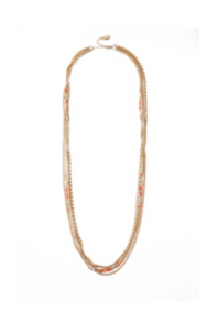 Layered-Chain Necklace with Coral-Colored Accents