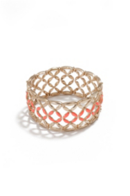 Coral-Colored and Gold-Tone Lattice Bracelet