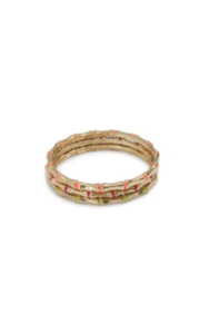 Neon and Gold-Tone Bamboo Bangle Set