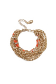 Coral-Colored and Gold-Tone Multi-Chain Bracelet