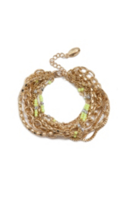 Lime-Colored and Gold-Tone Multi-Chain Bracelet