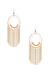 Coral-Colored Cascading Chain Hoop Earrings
