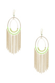 Lime-Colored Cascading Chain Hoop Earrings