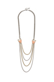 Gold-Tone and Pink Multi-Chain Necklace
