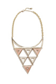 Gold-Tone and Pink Statement Necklace