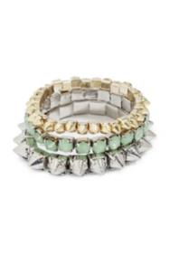 Mixed-Metal and Mint Bracelet Set