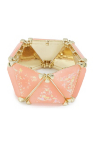 Gold-Tone and Pink Chunky Stretch Bracelet
