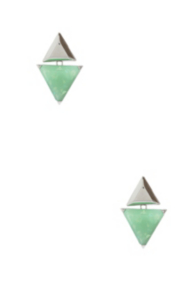 Silver-Tone and Green Triangular Earrings