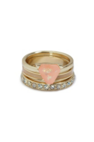 Gold-Tone and Pink Ring Set