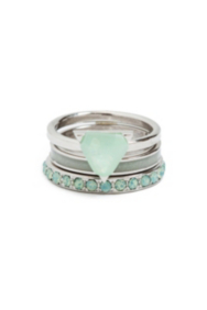 Silver-Tone and Mint Ring Set