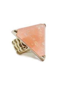 Gold-Tone and Pink Triangular Statement Ring
