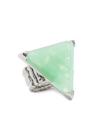 Silver-Tone and Mint Triangular Statement Ring