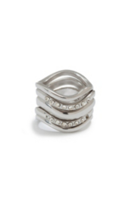 Silver-Tone Curve Ring Set