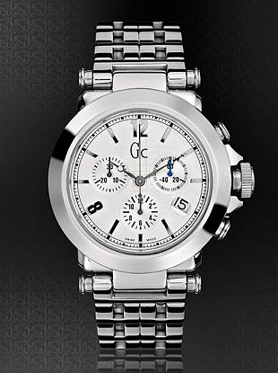 This bold chronograph has a clean, classic feel; perfect for work or play. Polished stainless steel case and bracelet features textured silver dial with precision Swiss chronograph and date feature.   Solid stainless steel case and bracelet.  40mm.  Hidden butterfly closure  Screw-down crown.  Water resistant to 100 meters.  10-year limited warranty.  SWISS MADE.