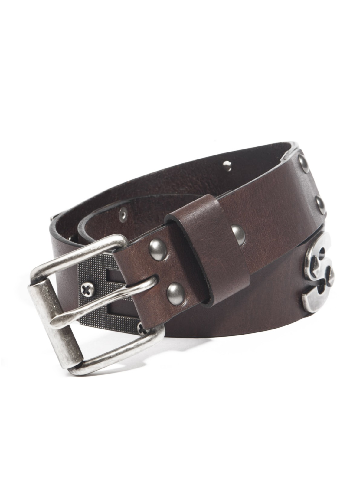 guess metal guess text faux leather belt