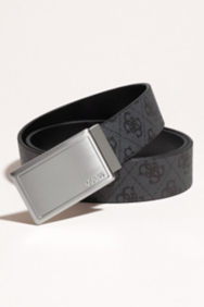 Reversible Logo Belt with Plaque Buckle