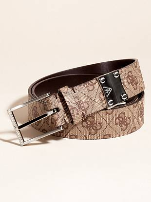 """Lift your look with this belt designed with a goes-with-everything logo pattern. Wear with jeans to sharpen up your casual style or spruce up dress pants and a button-down shirt for date night.     • 4G-logo pattern. Silver-tone hardware. • 1 ½"""" width • Prong buckle • Sits at waist  • 100% Leather"""