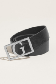 Black Belt with Silver-Tone G Plaque Buckle