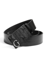 Leather Belt with Diamond-Texture Plaque Buckle