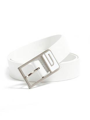 """Create clean lines and a sleek overall look with this genuine leather belt. A subtle logo at the buckle makes it an ideal signature piece. •Black leather belt. Gunmetal-tone buckle with enamel logo detail.  •1 ½"""" width •Prong buckle •100% Leather"""