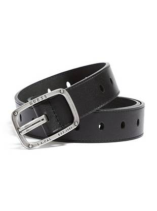 """Distinctive details make the man—and with a subtly engraved buckle and unique die-cut buckle holes, this belt delivers. Try it with casual looks for a finish that's all you. •Brown leather belt. Die-cut oval buckle holes. Silver-tone buckle with engraved logo detail. •1 ½"""" width •Prong buckle •100% Leather"""