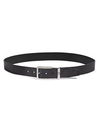 """Our signature 4-G logo print brings an understated edge to this genuine leather belt. Wearable day or night, you won't want to be without this go-to piece.  •Genuine leather belt with embossed signature 4-G logo print •1 ½"""" wide •Silver-tone prong buckle •Sits at hips •Material: Leather"""