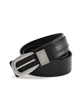 This rocker belt comes equipped with an engraved guitar pick-inspired plaque and rugged washed leather.