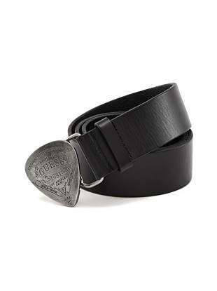 With an engraved guitar pick-inspired buckle and sleek leather strap, this washed-leather belt adds a dose of edge to any look.