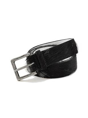 Created for the guy with a taste for trend, this season-right belt comes with a haircalf exterior and a harness buckle.