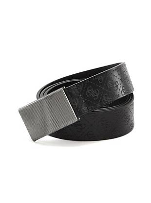 A classic design with iconic appeal, this genuine leather belt is one you'll wear again and again. A logo laser-embossed leather strap with a textured plaque buckle complete this style.