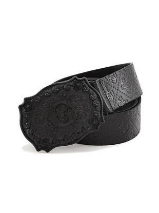 Take the statement approach to style with this embossed leather belt. Logo-embossed faux leather and an oversized buckle make it an iconic accessory you'll wear again and again.