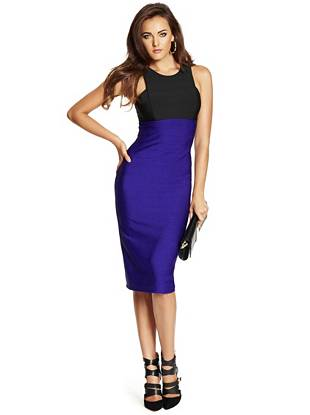 Modern color-blocking and a sexy bandage-inspired design make this dress your new go-to for after dark. Finished with a midi-length hem, it's the perfect blend of seduction and sophistication.