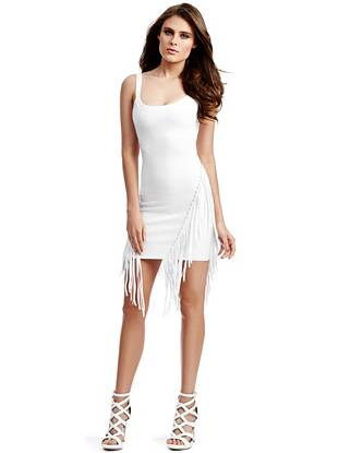 Embrace the ever-present boho moment with this contemporary take on a bandage dress. With obsession-worthy fringe and a body-hugging fit, this piece is pure party-ready perfection.