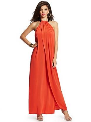 Femme fatale meets fashion-forward in this contemporary-chic maxi dress. A leather neckline with a double-stud closure and a draped front make it the perfect piece for a night out on the town.