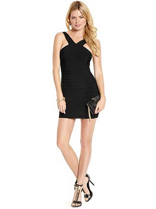 Slip on this body-hugging bandage dress for a high-fashion look that exudes femme-fatale appeal. Allover bandage detailing and bold, notice-me color provide a refreshing spin on evening-out style.