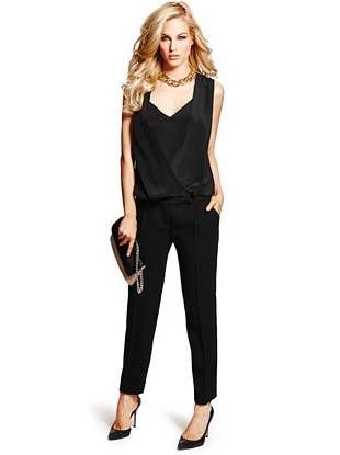 Slip on this slinky jumpsuit for an undeniably gorgeous alternative to a basic dress. A draped front and relaxed silhouette deliver modern-chic appeal with a confident and sexy edge.