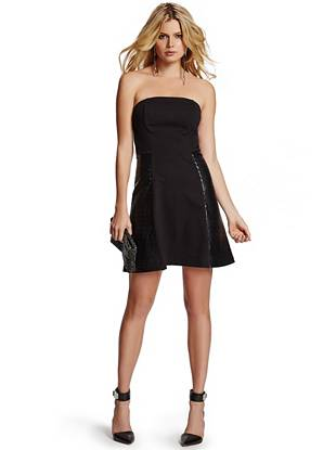 A fresh take on a traditional LBD, this all-occasion dress delivers understated edge with modern appeal. Tiered faux-leather leather detail gives the simple silhouette new meaning, while removable shoulder straps bring the versatility you love.